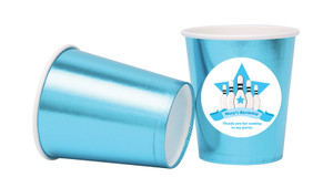 Ten Pin Bowling In Blue Personalised Party Cups