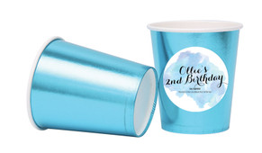 A Splash Of Watercolour In Blue Personalised Party Cups