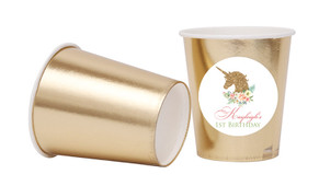 Golden Unicorns Personalised Party Cups
