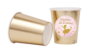 Golden Ballerina Personalised Party Cups