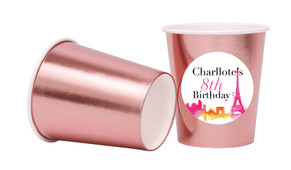 Paris Watercolour Personalised Party Cups