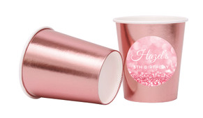 Pink Glitter Personalised Party Cups