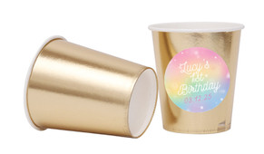 Rainbow Sparkle Personalised Party Cups