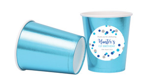 Confetti Blue And Silver Personalised Party Cups