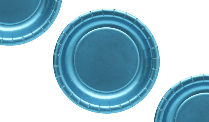 Blue Metallic Party Plates (12 Pack)