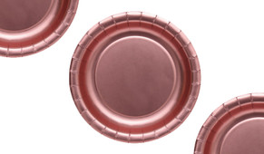 Rose Gold Pink Metallic Party Plates (12 Pack)