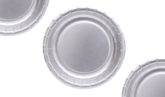 Silver Metallic Party Plates (12 Pack)