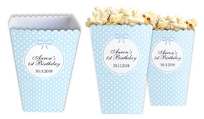 Polkadot Blue Personalised Popcorn Boxes