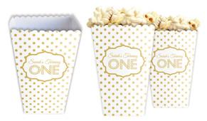 Gold Polkadots Personalised Popcorn Boxes