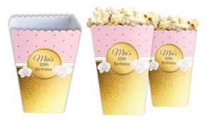 Pink & Gold Personalised Popcorn Boxes
