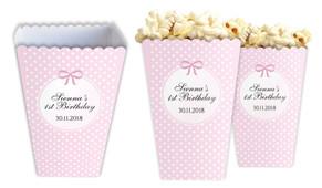 Polkadot Pink Personalised Popcorn Boxes