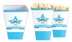 Ten Pin Bowling In Blue Personalised Popcorn Boxes