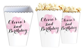 A Splash Of Watercolour In Pink Personalised Popcorn Boxes