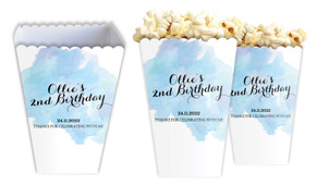 A Splash Of Watercolour In Blue Personalised Popcorn Boxes