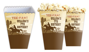Cowboy Party Personalised Popcorn Boxes
