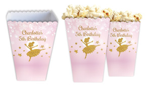 Golden Ballerina Personalised Popcorn Boxes