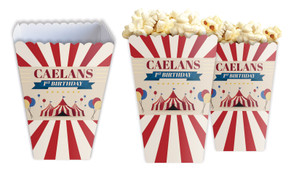 Retro Circus Personalised Popcorn Boxes