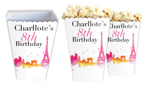 Paris Watercolour Personalised Popcorn Boxes