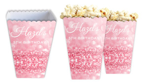 Pink Glitter Personalised Popcorn Boxes
