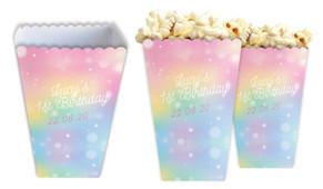 Rainbow Sparkle Personalised Popcorn Boxes