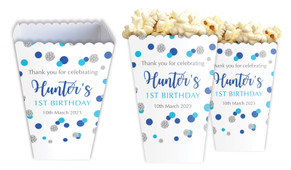 Confetti Blue And Silver Personalised Popcorn Boxes