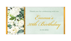 Elegant Greenery Custom Birthday Chocolate Bar