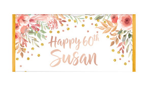 Peach Floral Personalised Birthday Chocolate Bar