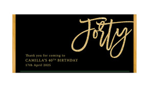 40th Birthday Black Custom Chocolate Bar Favour