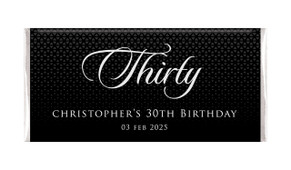 Elegant Black Personalised Chocolate Bar Favour
