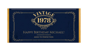 Vintage Year Personalised Chocolate Bar Birthday Favour