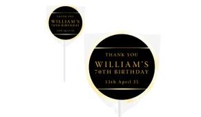 Gold On Black Personalised Birthday Lollipop