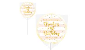 Striped Gold Confetti Personalised Birthday Lollipop