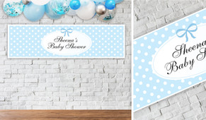 Polkadot On Blue Baby Shower Party Banner - 1.2m Wide