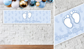 Baby Feet Blue Personalised Baby Shower Banner
