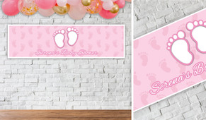 Baby Feet Pink Personalised Baby Shower Banner