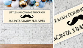 Moustache Of A Little Man Baby Shower Banner