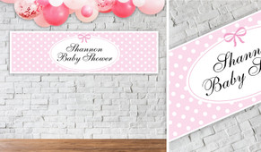 Polkadot On Pink Baby Shower Party Banner