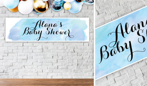 A Splash Of Watercolour On Blue Personalised Baby Shower Banner