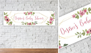 Floral Hexagons Personalised Baby Shower Banner