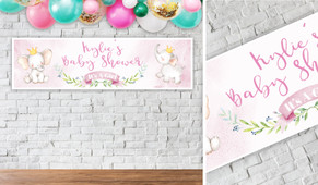 Sitting Elephants Pink Personalised Baby Shower Banner