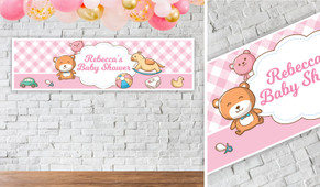 Baby Toys On Pink Personalised Baby Shower Banner