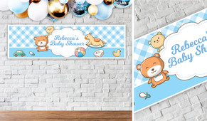 Baby Toys On Blue Personalised Baby Shower Banner