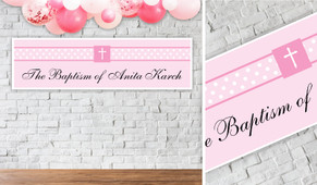 Initial In Pink Personalised Christening Banner