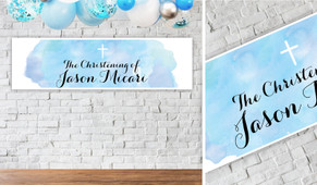 A Splash Of Watercolour Blue Personalised Christening Banner