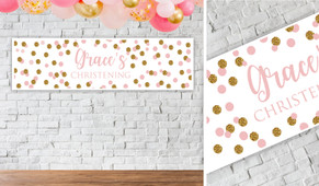 Confetti In Pink And Gold Personalised Christening Banner