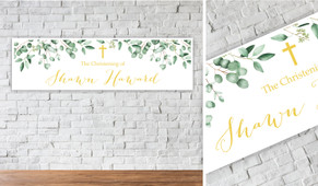 Gum Leaves And Gold Personalised Christening Banner