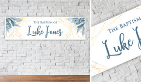 Blue Leaves Personalised Christening Banner