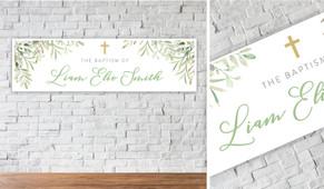 Golden Greenery Personalised Christening Banner