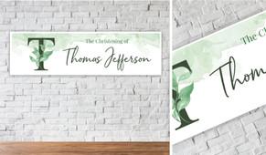 Monogram Green Personalised Christening Banner