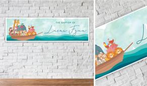 Noahs Ark  Personalised Christening Banner